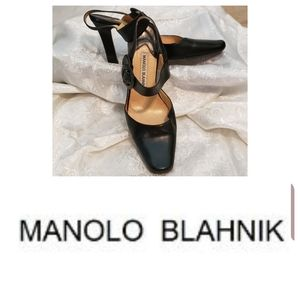 Vintage Manolo Blahnik Leather Ankle Strap Pumps